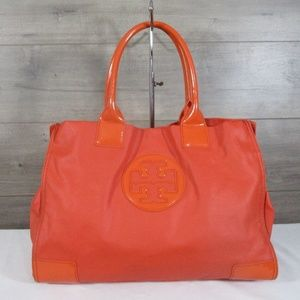 Tory Burch Ella Patent Leather Nylon Orange Tote